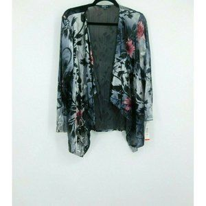 ONYX Nite Velour Floral Cardigan Women's Large NEW